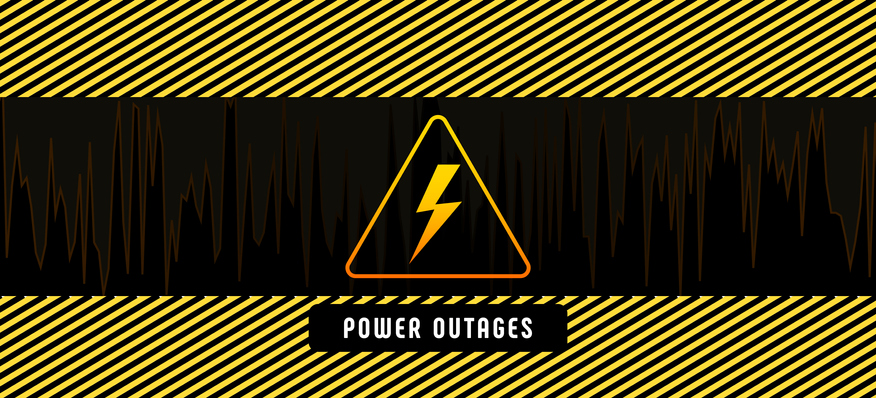 Power outage, poster with warning lines and yellow triangular caution icon on black background. High voltage electricity