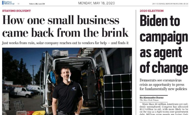 Clean Solar is on The Mercury News Front Page!